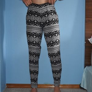 Black and white pants.